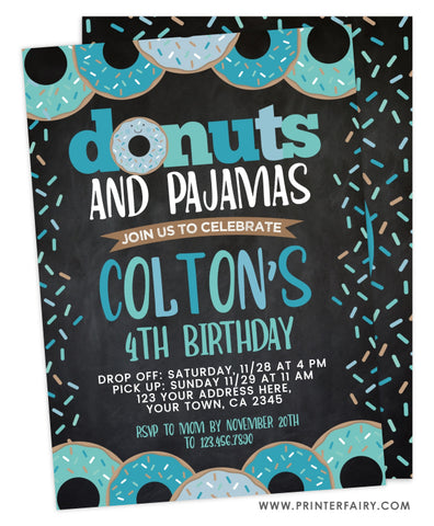 Donuts and Pajamas Birthday<br>teal & black