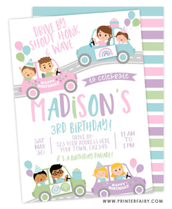 Drive Through Birthday Parade Party Invitation