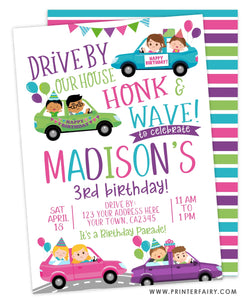 Drive Through Birthday Party Invitation