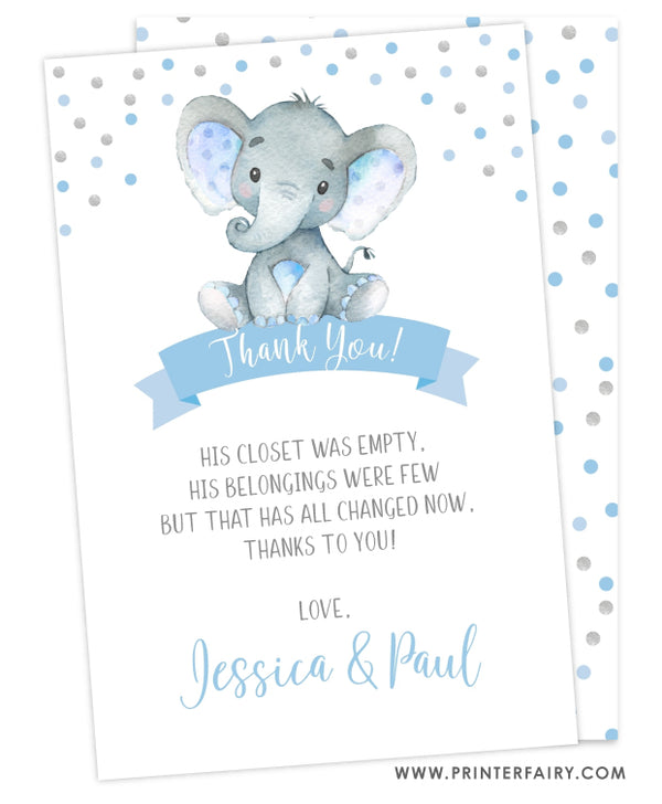 Elephant Boy Baby Shower Thank You Card