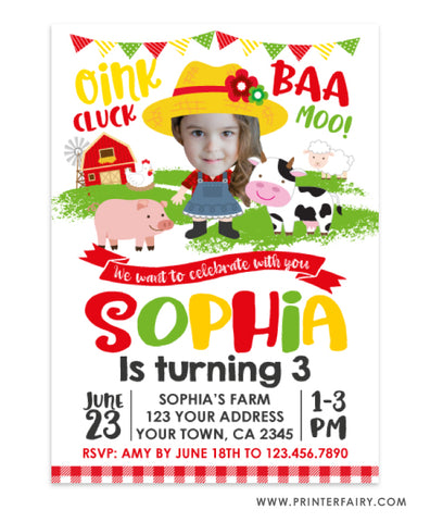 Farm Birthday Invitation with Photo