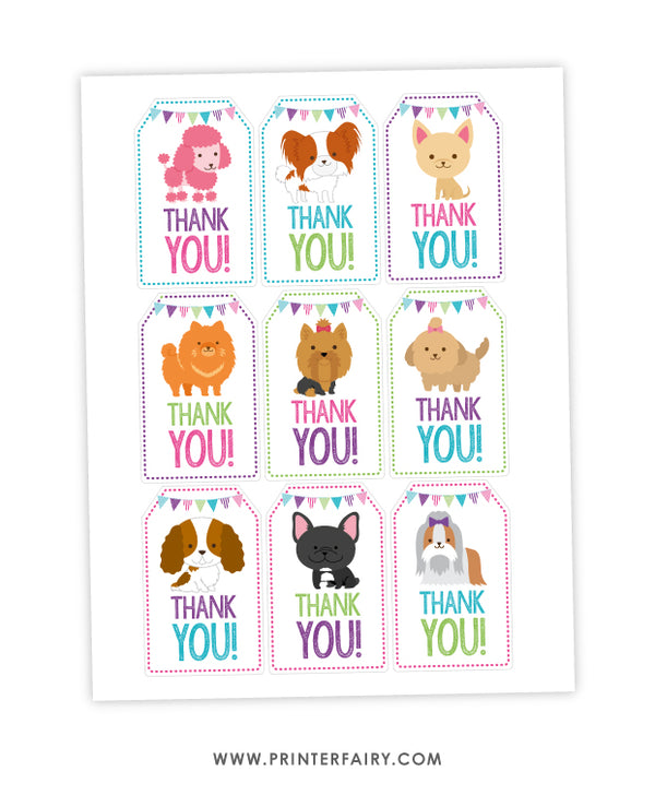 Puppy Party Favor Tags