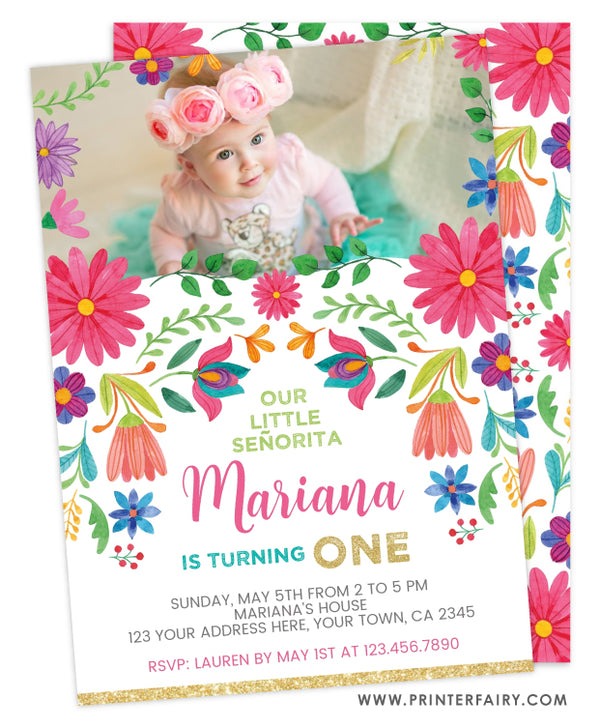 Fiesta Floral Birthday Invitation with Picture