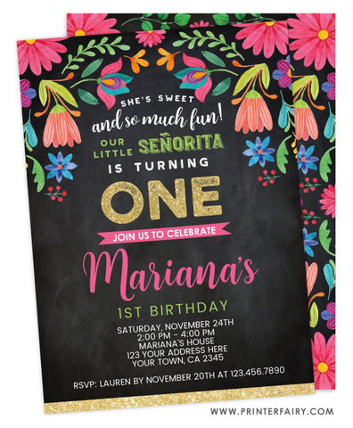 First Birthday Floral Fiesta<br>Black Background