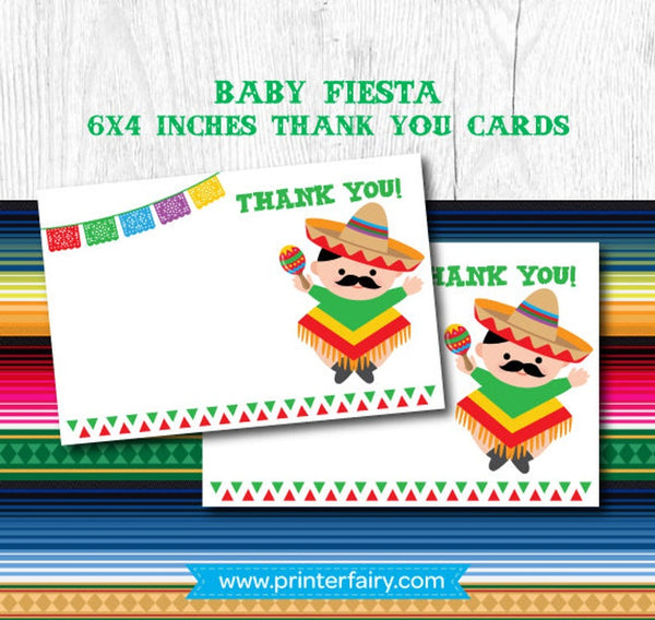 Baby Fiesta Thank You Cards