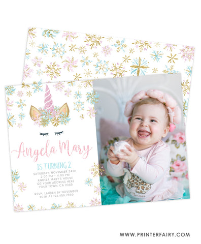 Unicorn Winter Birthday Invitation with Photo