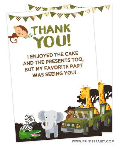 Safari Party Thank You Cards