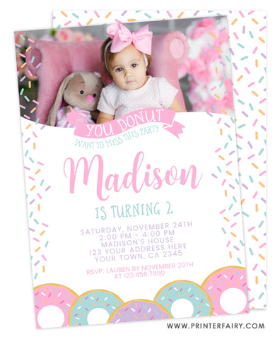Donut Birthday Invitation - Pink