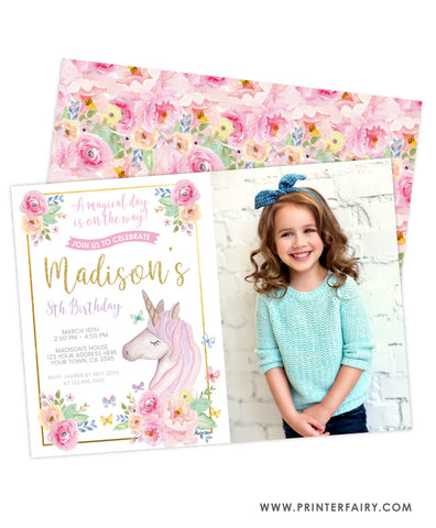 Unicorn Floral Birthday Invitation with photo