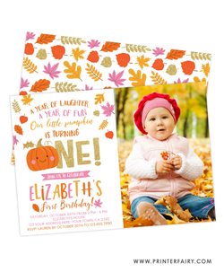 Little Pumpkin 1st Birthday Invitation with Picture