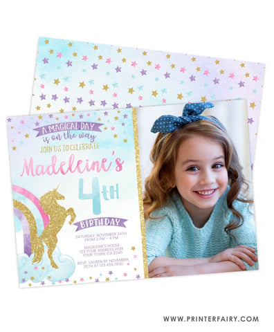 Unicorn and Rainbow Invitation with Photo