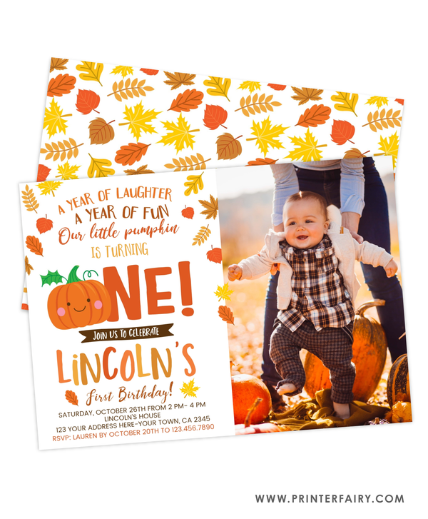 Little Pumpkin First Birthday Invitation with Photo