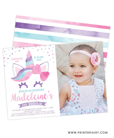 Unicorn Watercolor Party Invitation with picture