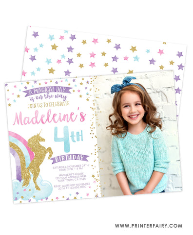 Unicorn Birthday Party Invitation with Photo