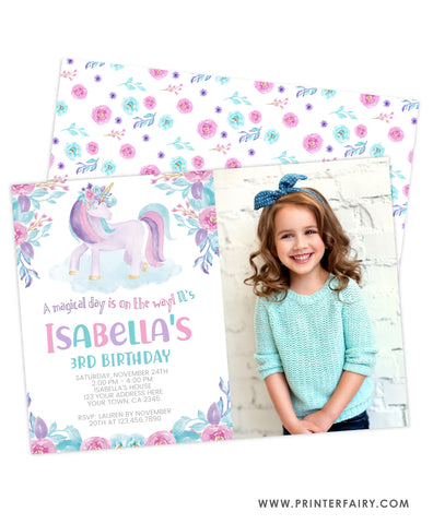 Unicorn Floral Watercolor Birthday Invitation with Photo