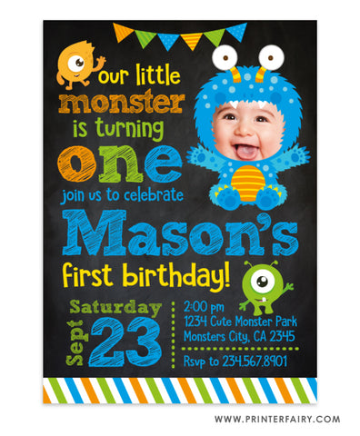 Little Monster Party Invitation with Photo
