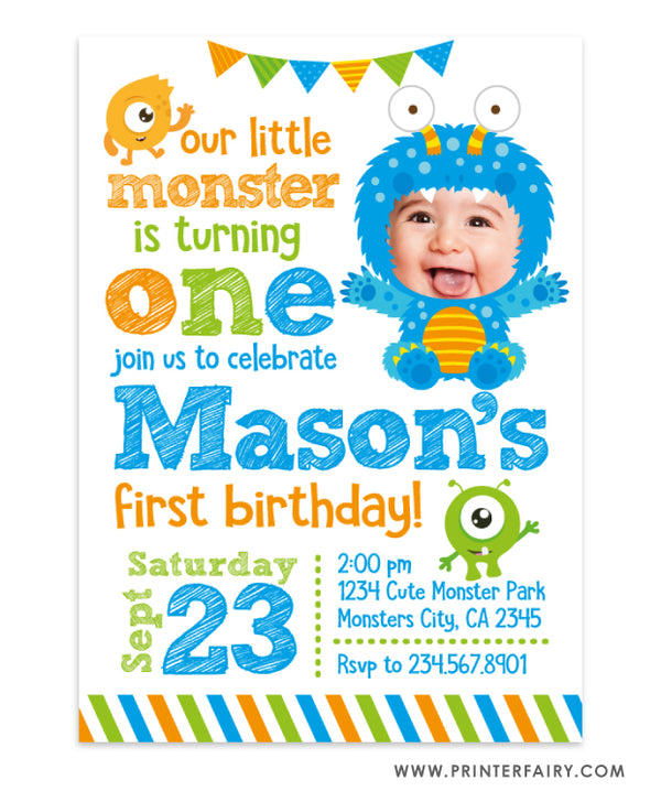 Little Monster Birthday Invitation with Photo
