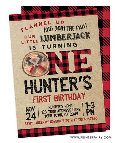 Lumberjack 1st Birthday Invitation