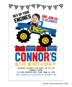 Monster Truck Invitation with Photo