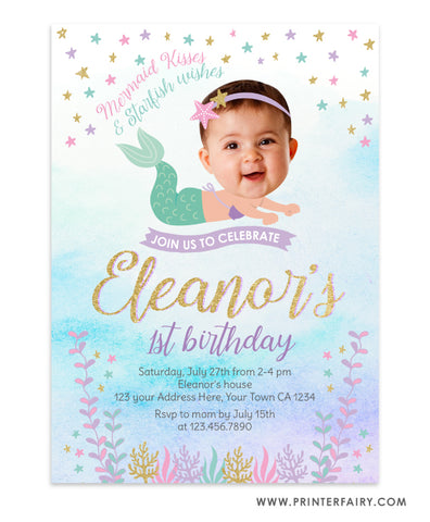 Baby Mermaid Birthday Invitation Place your Face