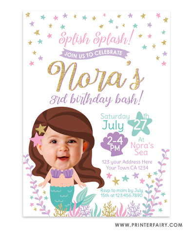 Mermaid Birthday Invitation Place your Face