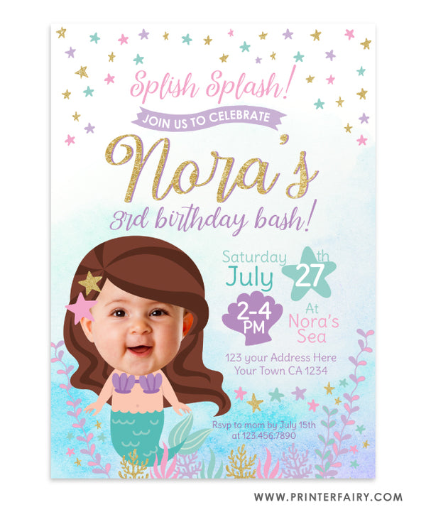 Mermaid Birthday Invitation with Photo
