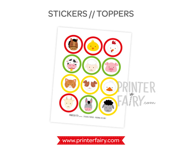 Farm Printable Toppers