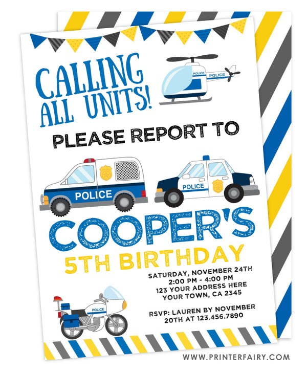 Police Cars Birthday Invitation
