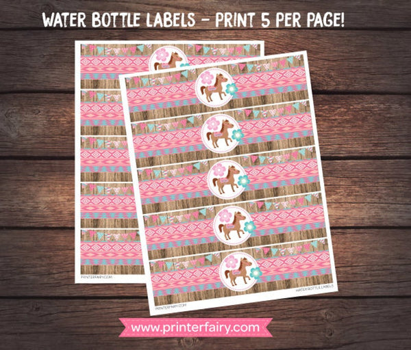 Pony Water Bottle Labels