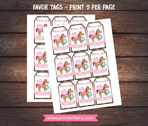 Pony Favor Tags