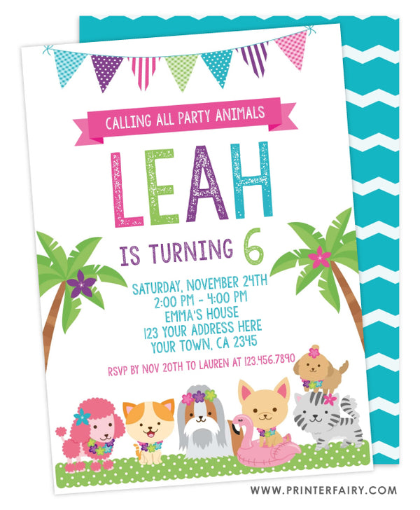 Puppies' Luau Party Invitation