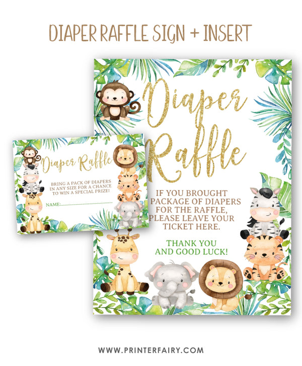 Safari Diaper Raffle Sign and Inserts