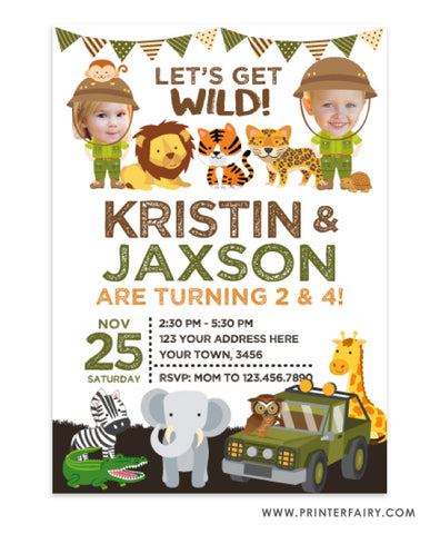 Safari Siblings Invitation with Photo