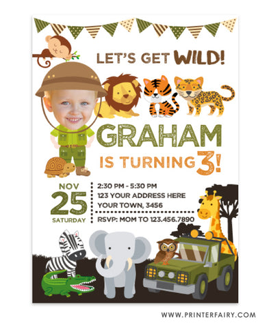 Safari Party Invitation with Photo