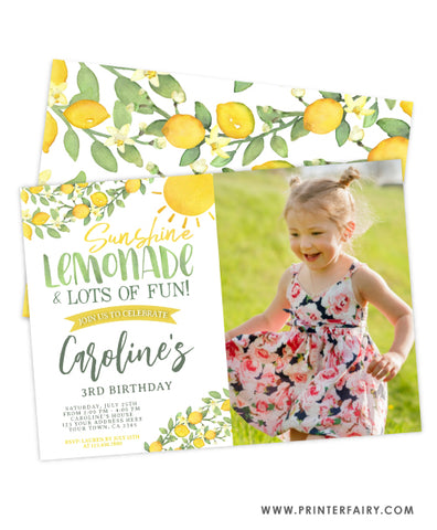 Sunshine Lemonade Birthday Invitation with photo