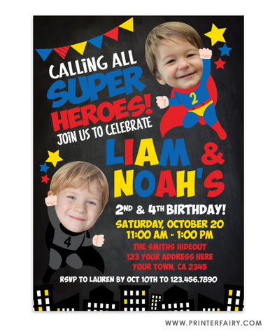Superhero Siblings Birthday Invitation with Photo