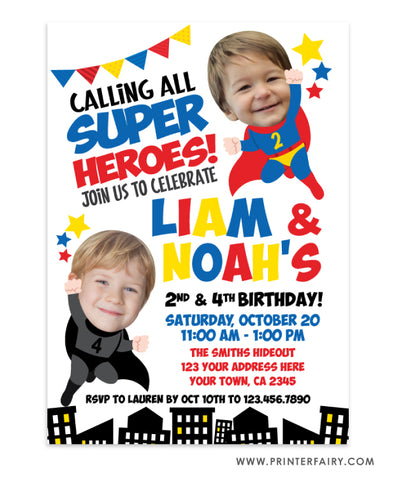 Superhero Siblings Invitation with Photo