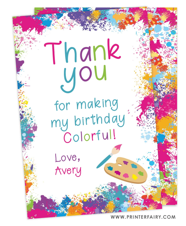Art Party Thank You Card