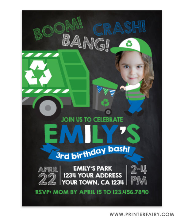 Trash Truck Invitation with Photo