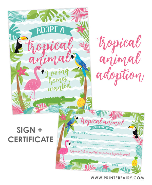 Tropical Animal Adoption Printables