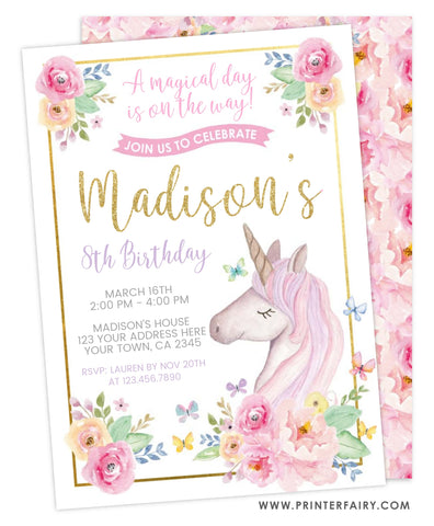 Unicorn Floral Birthday Invitation