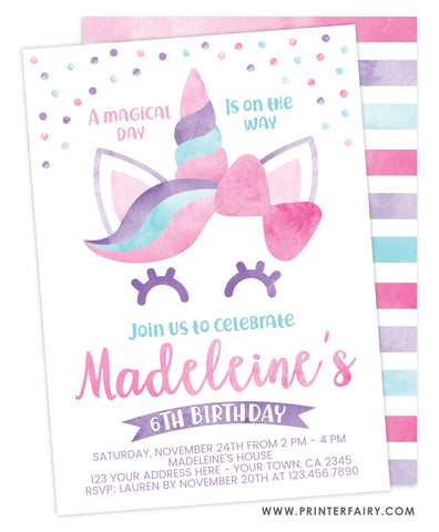 Unicorn Watercolor Party Invitation