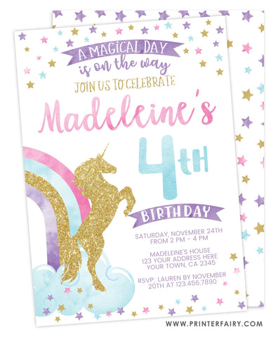 Unicorn Birthday Party Invitation