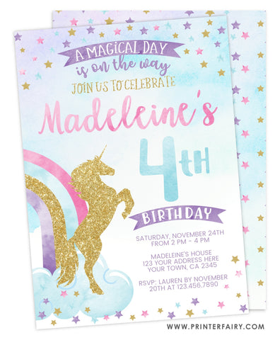 Unicorn and Rainbow Invitation