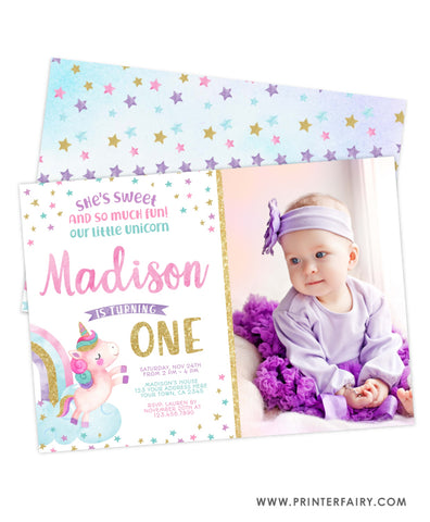 Unicorn First Birthday Invitation with Photo