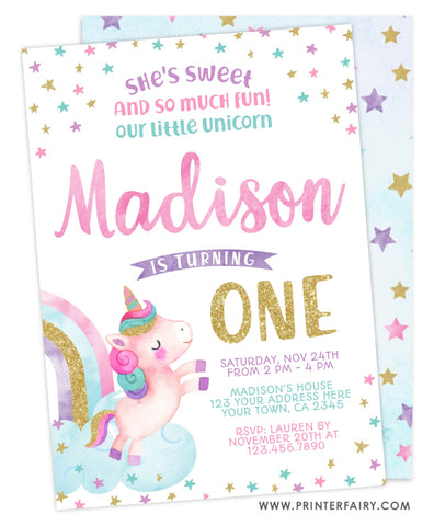 Unicorn First Birthday Invitation
