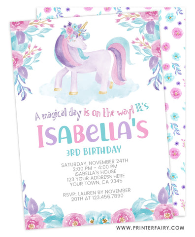 Unicorn Floral Watercolor Birthday Invitation
