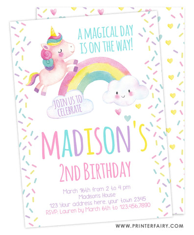 Unicorn Rainbow and Sprinkles Invitation