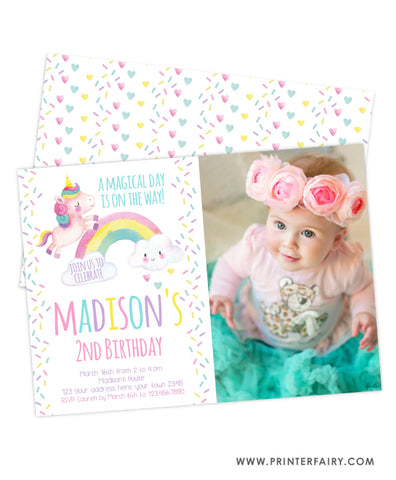 Unicorn Rainbow and Sprinkles Invitation with photo