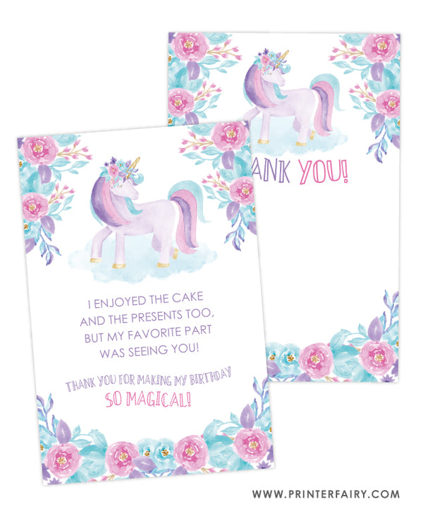 Unicorn Thank You Cards